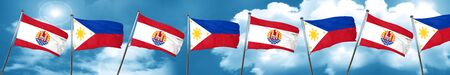 french culture: french polynesia flag with Philippines flag, 3D rendering