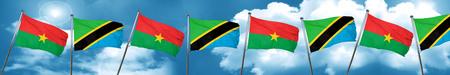 Burkina Faso flag with Tanzania flag, 3D rendering