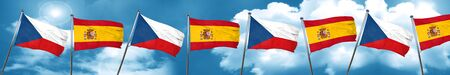 czechoslovakia flag with Spain flag, 3D rendering Stock Photo