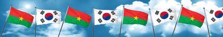 Burkina Faso flag with South Korea flag, 3D rendering Stock Photo