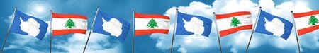 combines: bandera de la Antártida con bandera de Líbano, 3D Foto de archivo