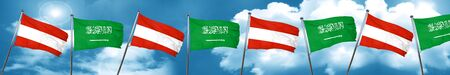 Austria flag with Saudi Arabia flag, 3D rendering