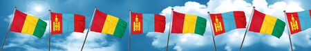 Guinea flag with Mongolia flag, 3D rendering