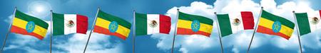 combines: Bandera de Etiopía con la bandera de México, representación 3D