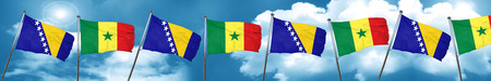 Bosnia and Herzegovina flag with Senegal flag, 3D rendering