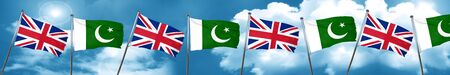 Great britain flag with Pakistan flag, 3D rendering