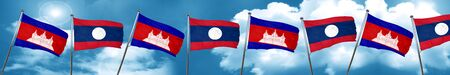 Cambodia flag with Laos flag, 3D rendering