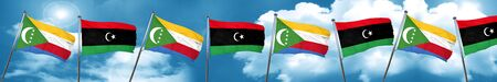 libya: Comoros flag with Libya flag, 3D rendering Stock Photo