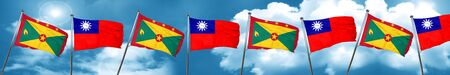 Grenada flag with Taiwan flag, 3D rendering Stock Photo