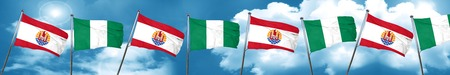 french culture: french polynesia flag with Nigeria flag, 3D rendering