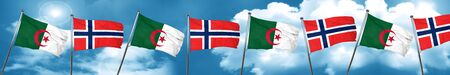 norway flag: algeria flag with Norway flag, 3D rendering