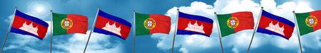 Cambodia flag with Portugal flag, 3D rendering