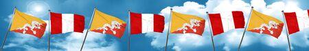 bhutan: Bhutan flag with Peru flag, 3D rendering