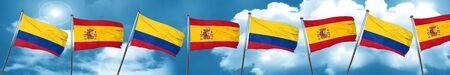 Bandera de Colombia con la bandera de España, representación 3D