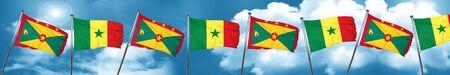grenada: Grenada flag with Senegal flag, 3D rendering
