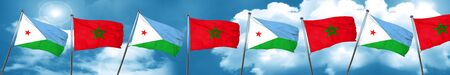 Djibouti flag with Morocco flag, 3D rendering Stock Photo