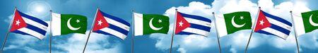 Bandera de Cuba con la bandera de Pakistán, representación 3D Foto de archivo