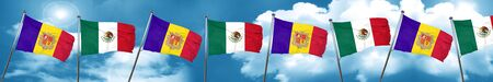 Andorra flag with Mexico flag, 3D rendering Stock Photo