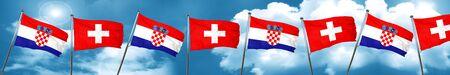 bandera de croacia: croatia flag with Switzerland flag, 3D rendering