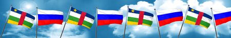 Central african republic flag with Russia flag, 3D rendering