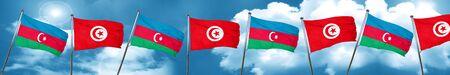 Azerbaijan flag with Tunisia flag, 3D rendering Stock Photo