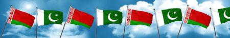combines: Bandera de Bielorrusia con bandera de Pakistán, representación 3D