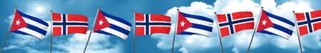 cuban culture: Cuba flag with Norway flag, 3D rendering