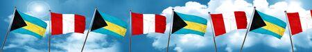 bandera de peru: Bahamas flag with Peru flag, 3D rendering Foto de archivo