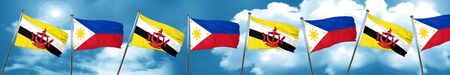 philippino: Brunei flag with Philippines flag, 3D rendering