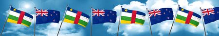 Central african republic flag with New Zealand flag, 3D rendering