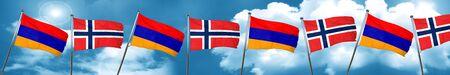 Armenia flag with Norway flag, 3D rendering
