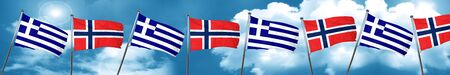 Greece flag with Norway flag, 3D rendering