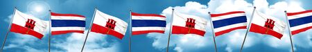 gibraltar flag with Thailand flag, 3D rendering