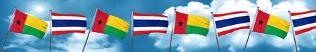 Guinea bissau flag with Thailand flag, 3D rendering