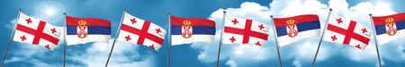 Georgia flag with Serbia flag, 3D rendering Stock Photo