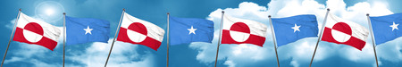 greenland flag with Somalia flag, 3D rendering Stock Photo