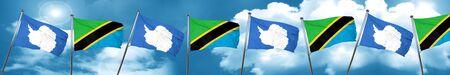 antarctica flag with Tanzania flag, 3D rendering