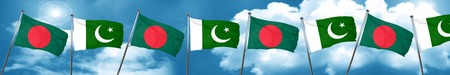 Bangladesh flag with Pakistan flag, 3D rendering