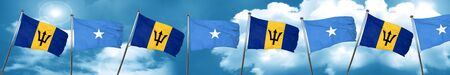 Barbados flag with Somalia flag, 3D rendering Stock Photo