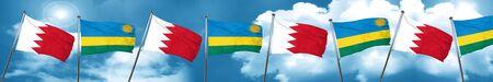 Bahrain flag with rwanda flag, 3D rendering