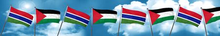 gambia: Gambia flag with Palestine flag, 3D rendering