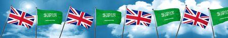 Great britain flag with Saudi Arabia flag, 3D rendering