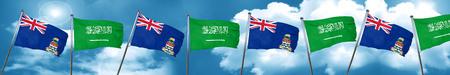cayman: cayman islands flag with Saudi Arabia flag, 3D rendering