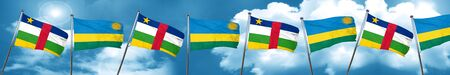 Central african republic flag with rwanda flag, 3D rendering