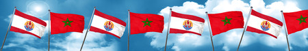 french culture: french polynesia flag with Morocco flag, 3D rendering