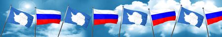 antarctica flag with Russia flag, 3D rendering Stock Photo