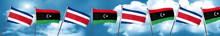Costa Rica flag with Libya flag, 3D rendering