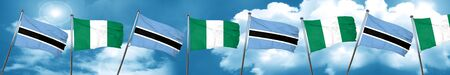 Bandera de Botswana con la bandera de Nigeria, representación 3D Foto de archivo