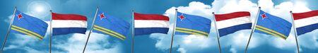 aruba flag with Netherlands flag, 3D rendering