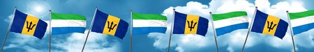 Barbados flag with Sierra Leone flag, 3D rendering Stock Photo